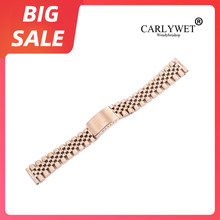 Carlywet 20 Mm Mawar Emas Replacement 316L Stainless Steel Wrist Watch Band Tali Gelang untuk Omega IWC Tudor Seiko Breitling(China)