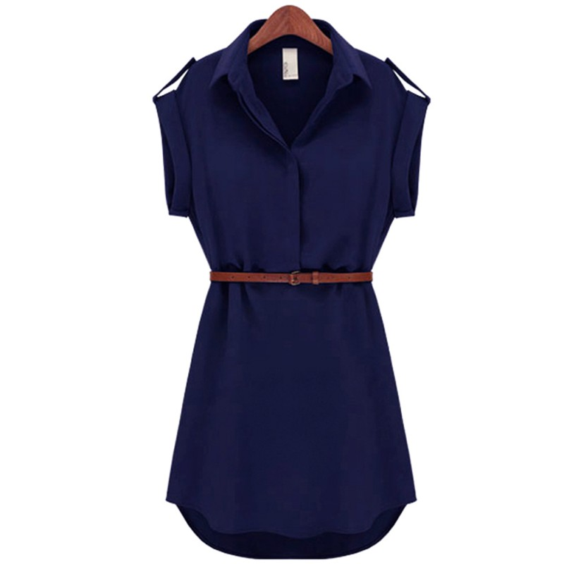 2019 Fashion Women's Short Sleeve Stretch Chiffon Casual OL Belt Mini Dress Vestidos Hot Sale