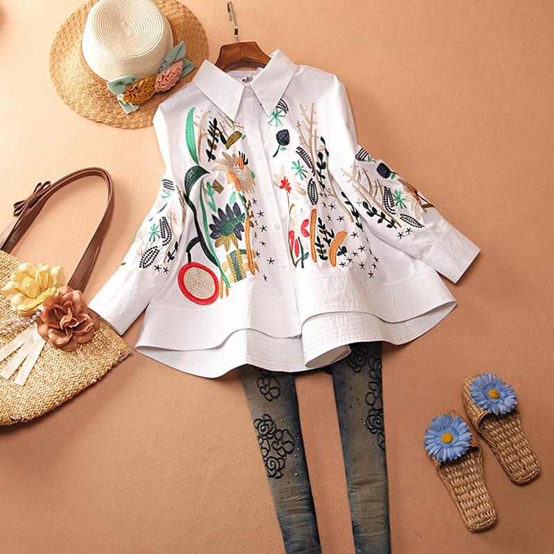 Shirt Women's Vintage 2020 New Fashion Spring And Autumn Chinese Embroidery Flower Irregular Lapel White Shirt Plus Size Shirts