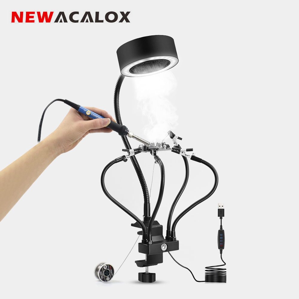 NEWACALOX  Table Clamp Soldering Smoke Absorber Soldering Holder Smoking Apparatus Welding Exhaust Fan 3 Colors Adjust LED Light