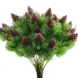 4 szt. Fałszywe cedrowe gałęzie sosnowe z sztuczna sosna szyszki plastikowe krzewy Faux zieleni krzewy wiązki ozdoby na środek stołu aranżem w Sztuczne rośliny od Dom i ogród na
