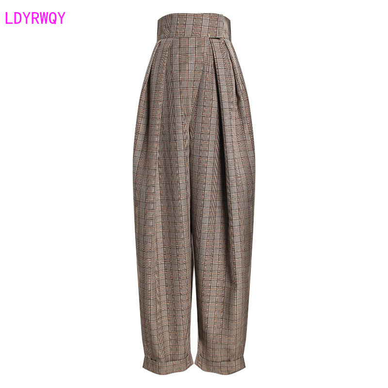 2019 Autumn New Women's Retro Accented Hipster Check High Waist Was Thin Cuffed Casual Harem Trousers  Pants