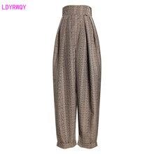 2019 outono novo feminino retro acentuado hipster verificar cintura alta foi fino algemado calças casuais harem