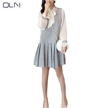 OLN Autumn dress Korean 2019 New arrival wholesale Trumpet Sleeve Shirt + Ruffled Plaid Wool Tank Top Two-piece Dress