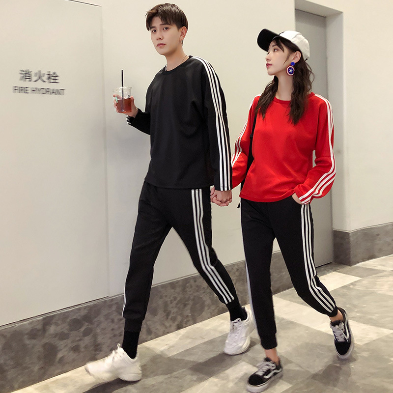 Spring And Autumn Men Running Sports Clothing Casual Couples Carry Article Set Long-sleeved For Women Casual Slim Fit Sports Set