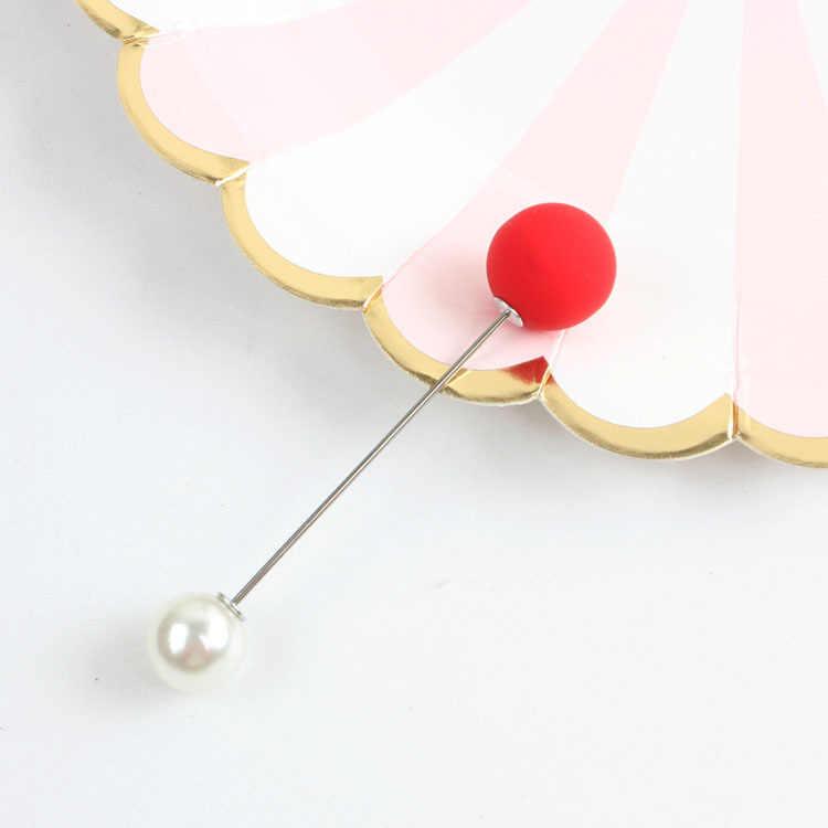 Semplice Colore di Moda Spilla Anti-luce Bastone Doppia Testa Collare di Perle Spille Cappotto Femminile Maglione Cardigan Scialle Fibbia Accessori