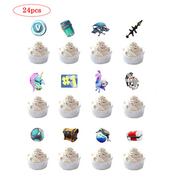 24pcs/set Fortnites Cake Flag Party Set Birthday Cake Decoration Card Game Flag Birthday Toys Gift Decoration fortnites 1