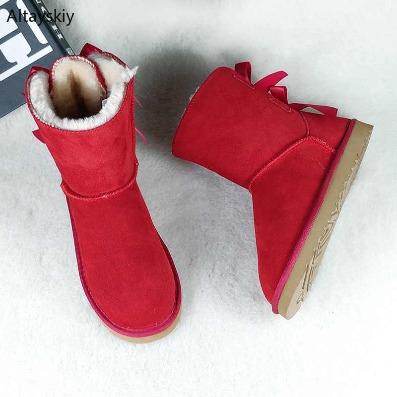 Laarzen Vrouwen Plus Size Winter Warm Dikkere Pluche Lelijke Sneeuw Boot Womens Trendy Studenten Leisure Mooie Riband Red Bont 2020 outdoor