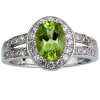 Women 925 Sterling Silver Ring Natural Green Peridot Gemstone 6x8mm Oval Stone Jewelry August Birthstone R013GPN