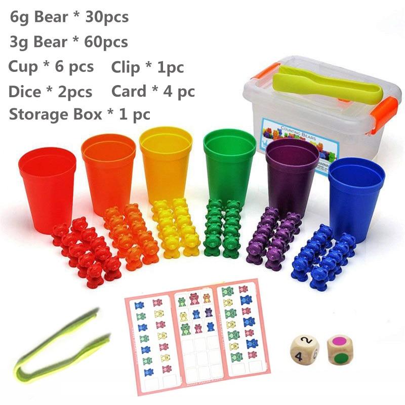 1 набор, счетные медведи, штабелирование чашек-Монтессори, радужная игра, обучающая Сортировка цветов, игрушки для малышей - Цвет: Set N