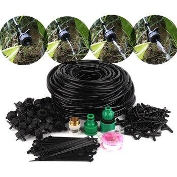5m ~ 50 м орошения сада Наборы 8L черный Давление компенсацию капельницы с 4/7 мм петель растяжимый шланг для сельского хозяйства капельницы оро...