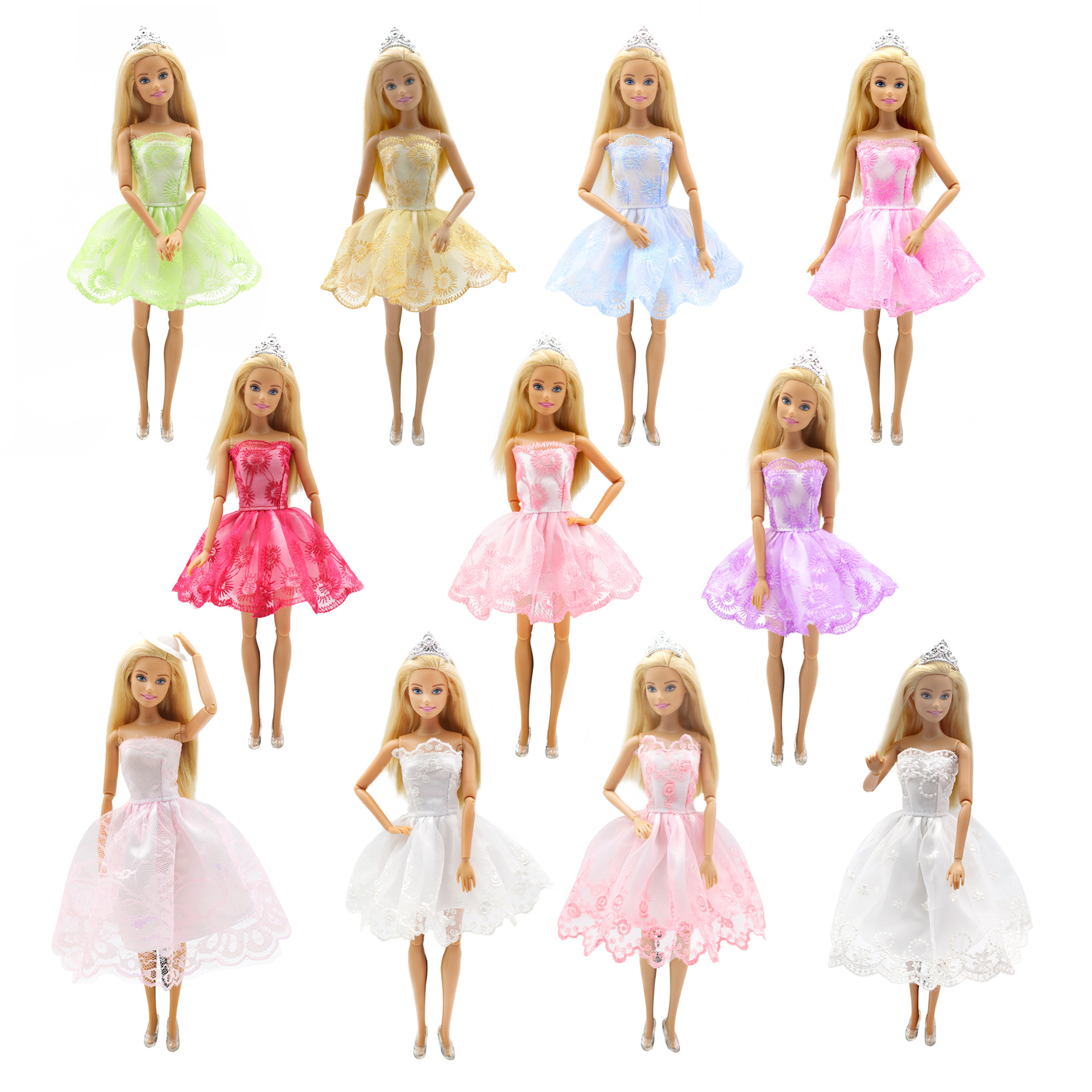 For Barbie Doll Princess Dress Accessories Handmade Fashion Clothes Princess Girls Style Wear Blouse Lace Ballet Skirts Set 29cm