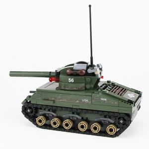Image 4 - Военный Шерман M4 Танк солдат армии США фигурки строительные блоки военные WW2 солдат шлем оружие кирпичи части блоки игрушки