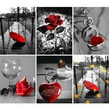 Azqsd алмазная вышивка Роза цветы мозаика пейзаж рукоделие крестом