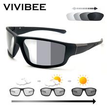 VIVIBEE Men Photochromic Sunglasses Matte Black Sports Goggles Women Color Changing Polarized Driving 2020 Sun Glasses cheap Polycarbonate Anti-Reflective UV400 Adult V4029 Polaroid 63mm 38mm Eyewear Blue Red Grey Greem Drive Outdoor Sports