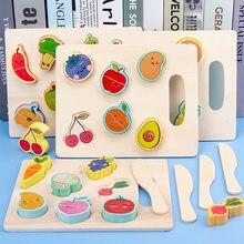 Cozinha de madeira corte frutas legumes crianças cozinhar cozinha brinquedo comida fingir jogar quebra-cabeça brinquedos educativos presente