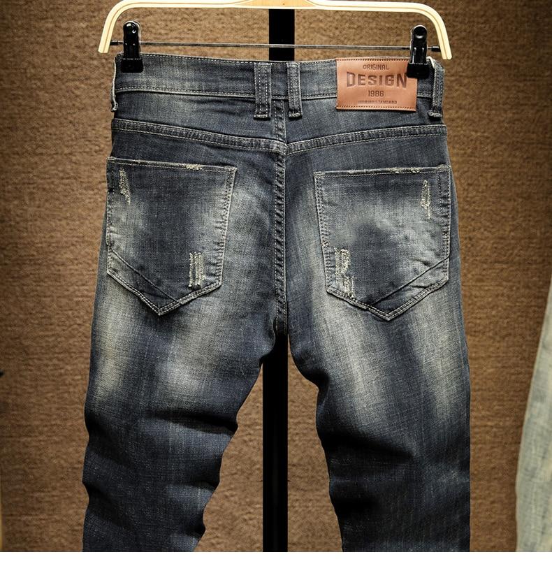 Punk Jeans Men Slim Fit Stretch High Street Wear Retro Blue Casual Denim Jeans Pants Mens Biker