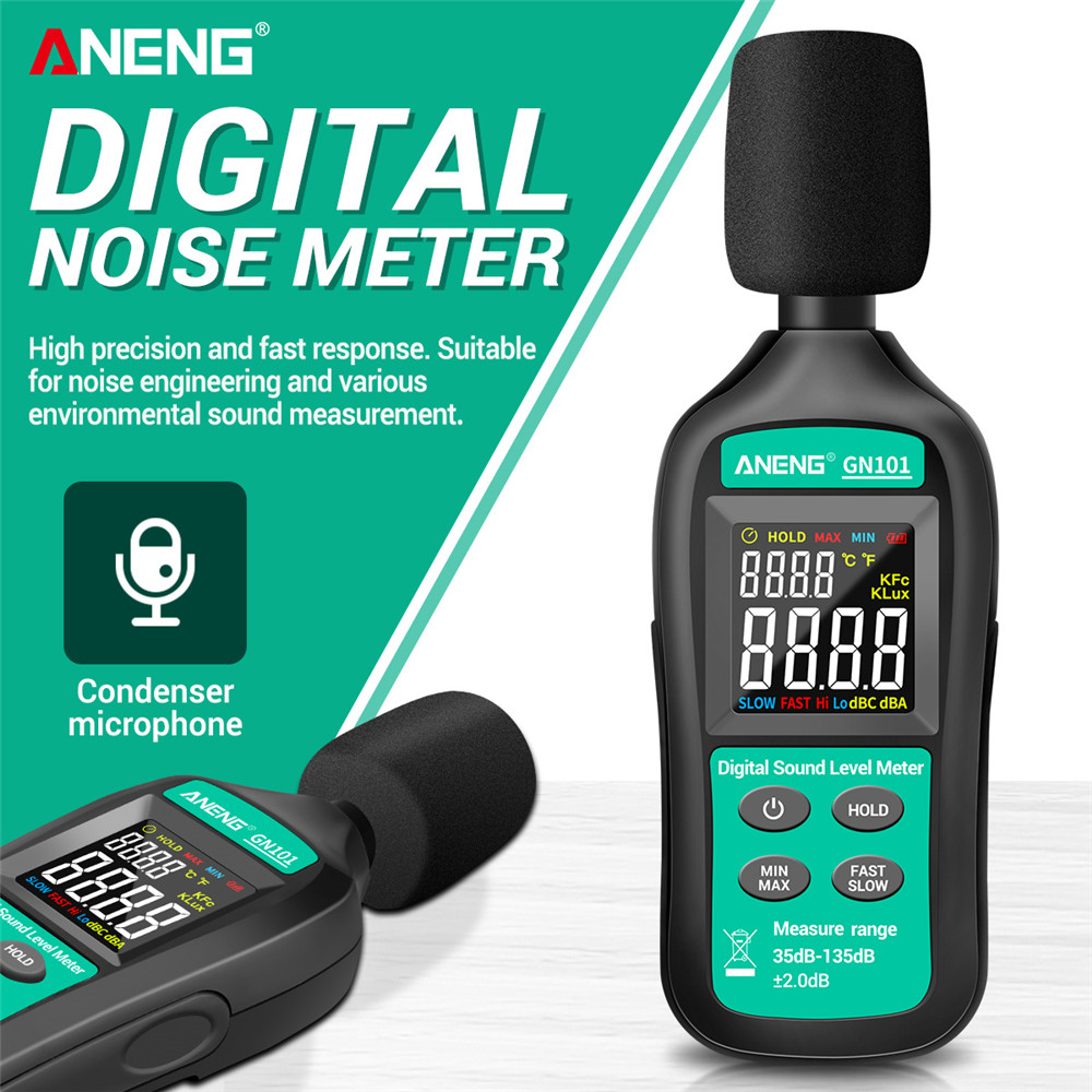 ANENG GN101 Digital Noise Meter Measurement 35-135 db Intelligent Sound Level Meter Decibel Monitor Logger  Diagnostic-Tool