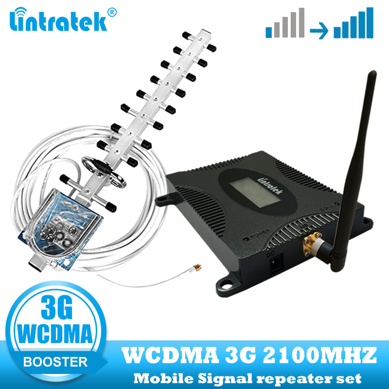 Lintratek Set Ganho 70dB (Banda LTE 1) 2100 UMTS Signal Booster Móvel 3G (HSPA) 3G UMTS WCDMA 2100MHz Celular Repetidor Amplificador