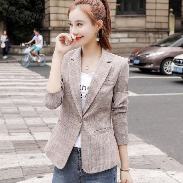 PEONFLY Vintage Single Button Office Ladies Plaid Blazer Casual Korean Style Long Sleeve Coat Jacket Women Blazers Female 1