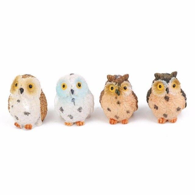 1/2pcs Owls Animal Figurines Resin Miniatures Figurine Craft Bonsai Pots Home Fairy Garden Ornament Decoration Terrarium Decor 4