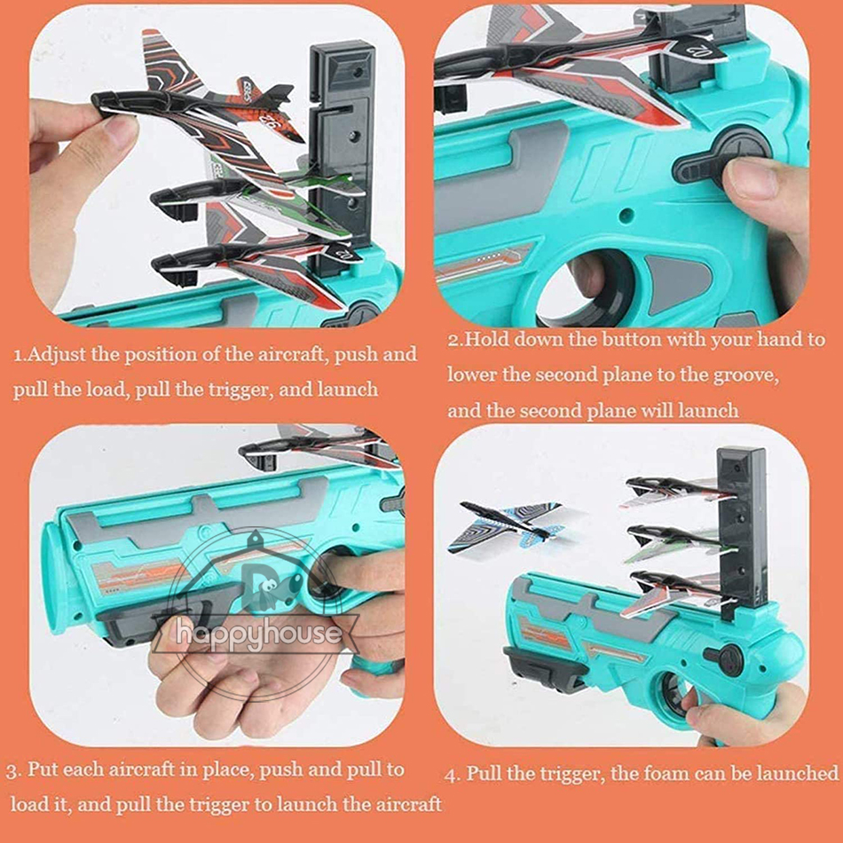 Airplane Launcher Bubble Catapult Plane Toy Airplane Toys for Kids plane Catapult Gun Shooting Game Toys Outdoor Sport Toys