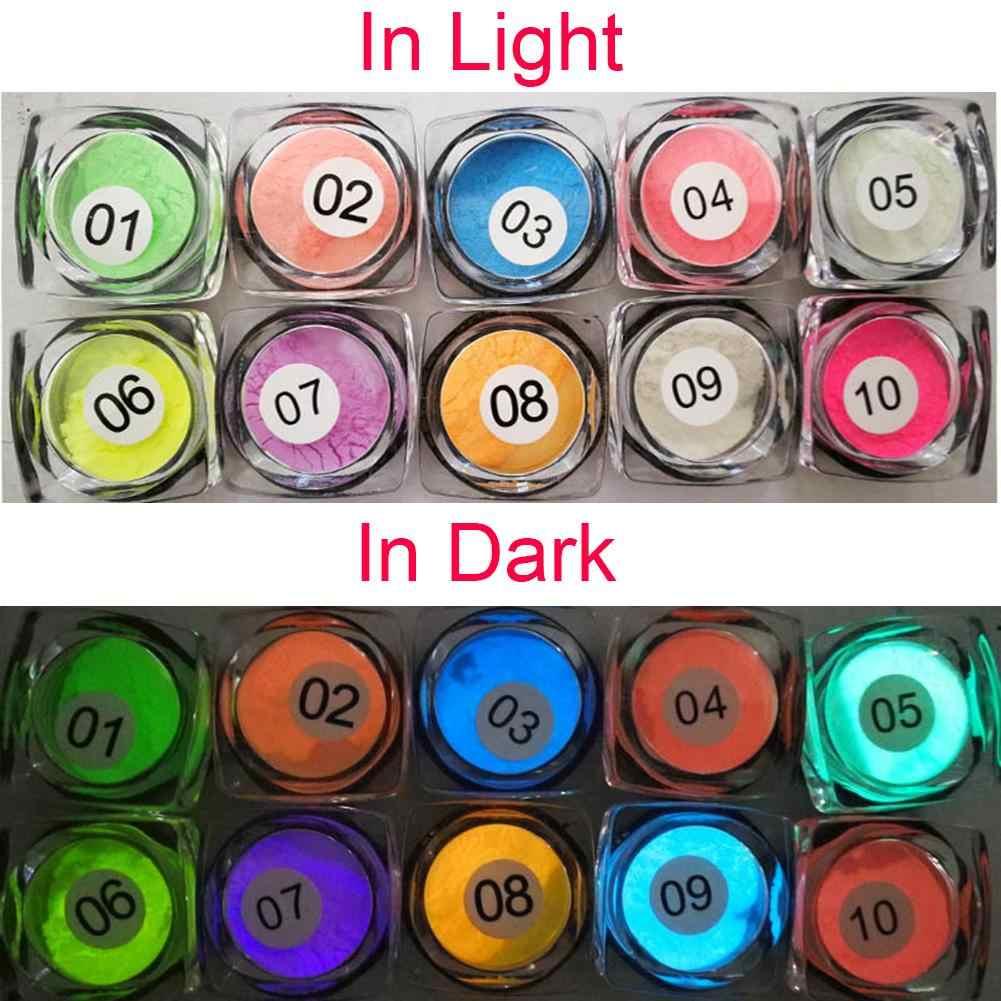 ใหม่ 1 Pcs Neon Dipping Powder Luminous Nail Art ตกแต่งเรืองแสง Glitter GLOW Pigment ฝุ่น UV GEL Design