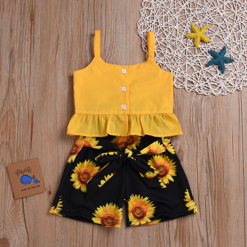 Toddler Girl Clothes Baby Girl Sunflower Outfits Ruffle Sleeveless Linen Shirt Floral Short Pants Set for Girls