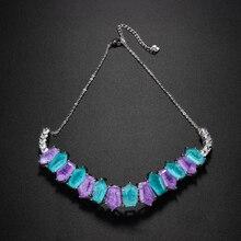 Newranos Pedra Fusion kamień Choker naszyjnik wielokolorowy kryształ naszyjnik Party choker dla kobiet moda biżuteria NFX0022844