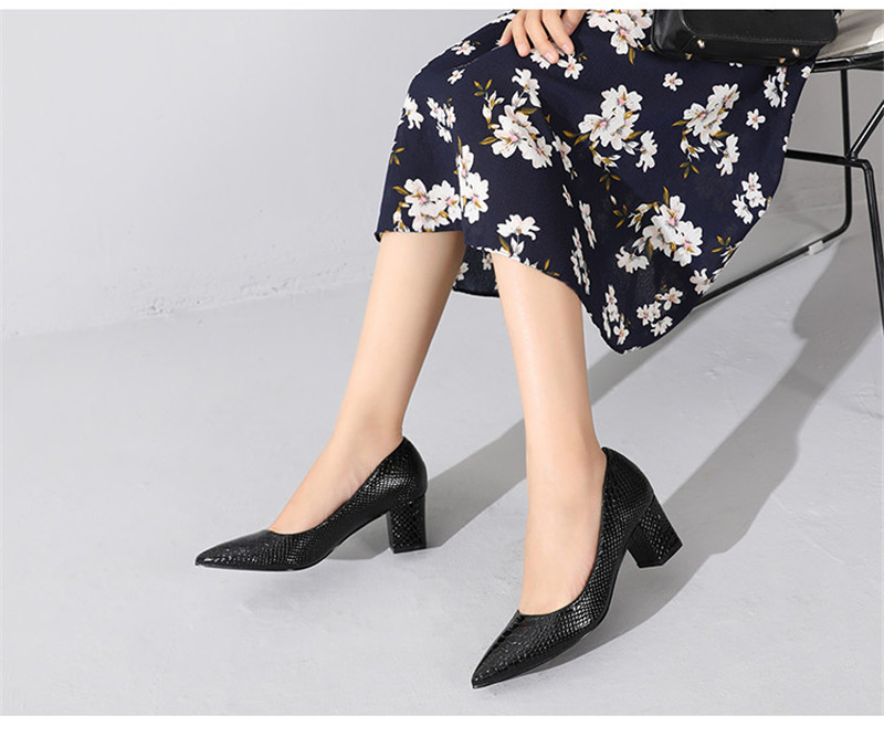2020 New Women's Pumps Shoes Thick Heels Single Female Pumps Shoes Woman Korean Crocodile Pattern Leather Office Lady Work Shoes (13)