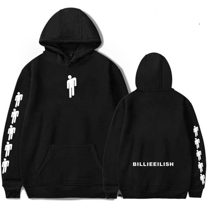 Billie Eilish Men Hoodies Sweatshirt 2019 Hip Hop Kpop Letter Print Hooded Mens Sweatshirt Casual Street Loose Male Pullovers