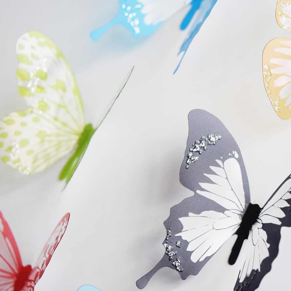 18 개/몫 3 deffect 크리스탈 나비 벽 스티커 아름 다운 나비 아이 방 벽 데칼 홈 장식 벽에