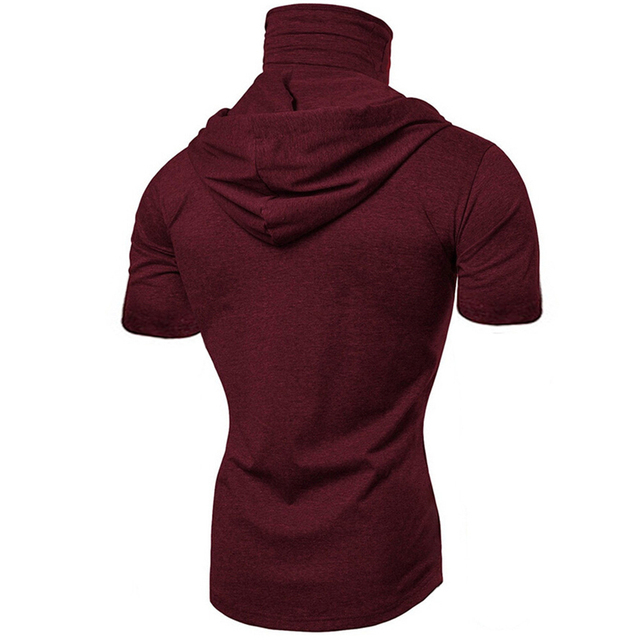 Fashion Short-Sleeved Mask Hooded Tops Men Casual Elastic Solid Fitness Hip Hop Slim Fit Male top tees Streetwear M-3XL 6