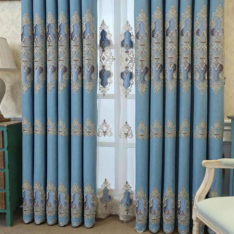 Уникальная роскошная бархатная кружевная занавеска для спальни с вышивкой, плотная занавеска для гостиной, M123-50