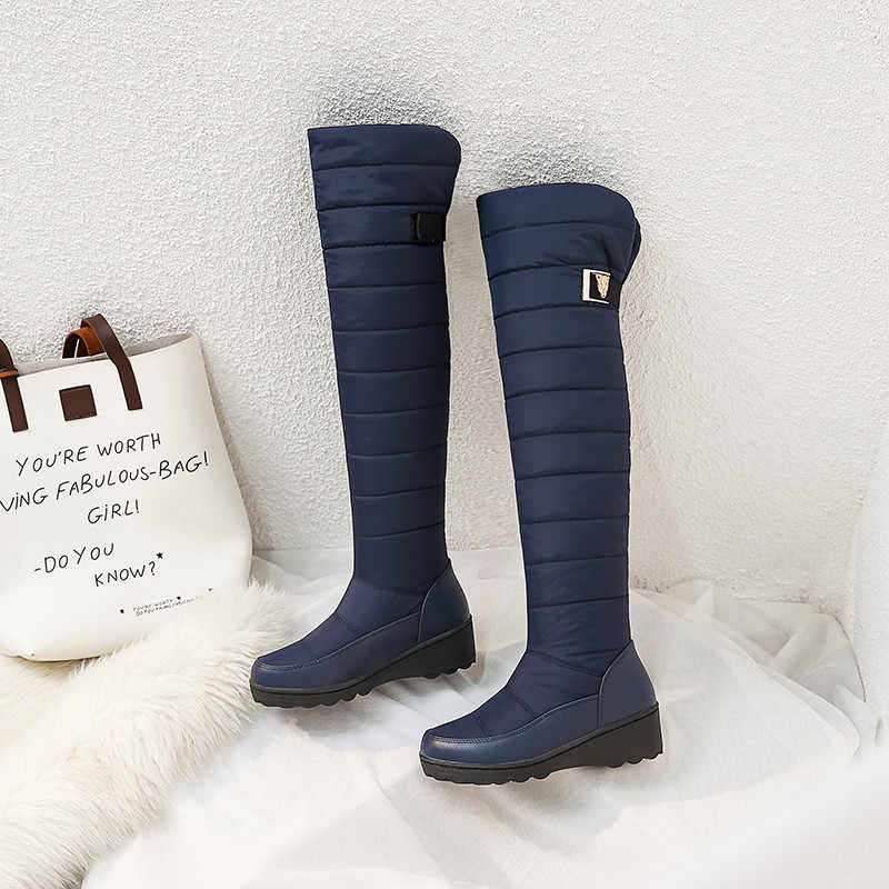 ZJVI vrouwen 2019 blauw over de knie laarzen vrouw warme vacht winter dames platform wiggen hakken dij hoge laarzen meisjes schoenen