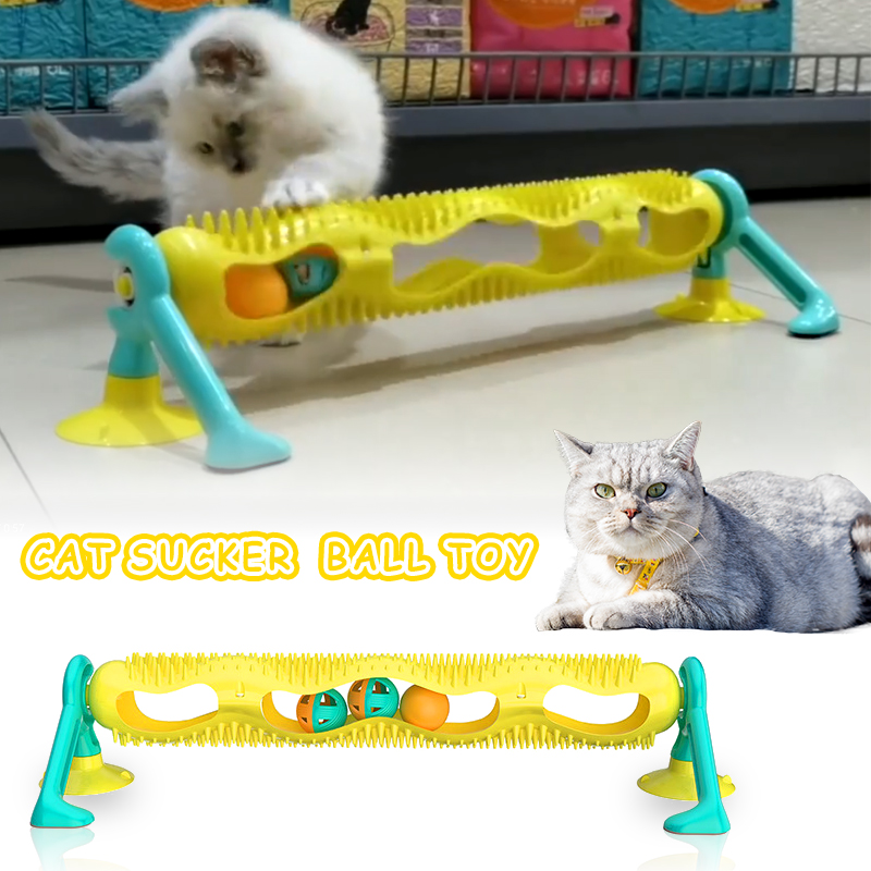 Cat Track Ball Toy with Sucker Luminous Massage Interactive Game with Catnip Window Suction Cup Trackball Intelligence Pet Toy img1