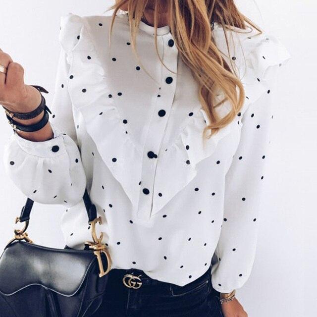 2020 Autumn Women Polka Dot Ruffle Blouse Shirt Elegant Fashion O Neck Buttons Streetwear Tops Lady Spring Long Sleeve Pullover 1
