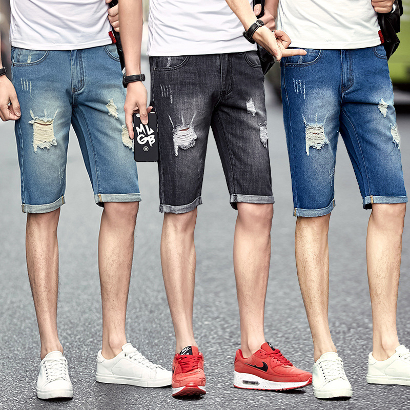 Summer Men's Cool With Holes Denim Shorts MEN'S Fifth Pants Youth Slim Fit Straight-Cut Shorts Fashion