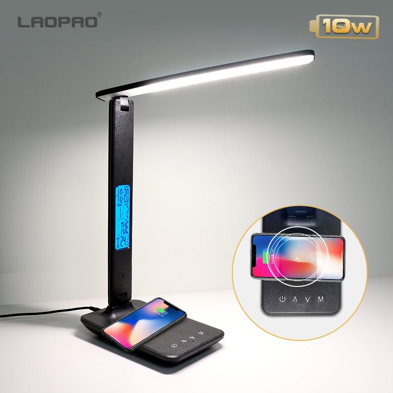 LAOPAO QI беспроводной зарядный светодиодный настольный светильник 10 Вт с календарем Температура Будильник защита глаз светильник для чтения ...