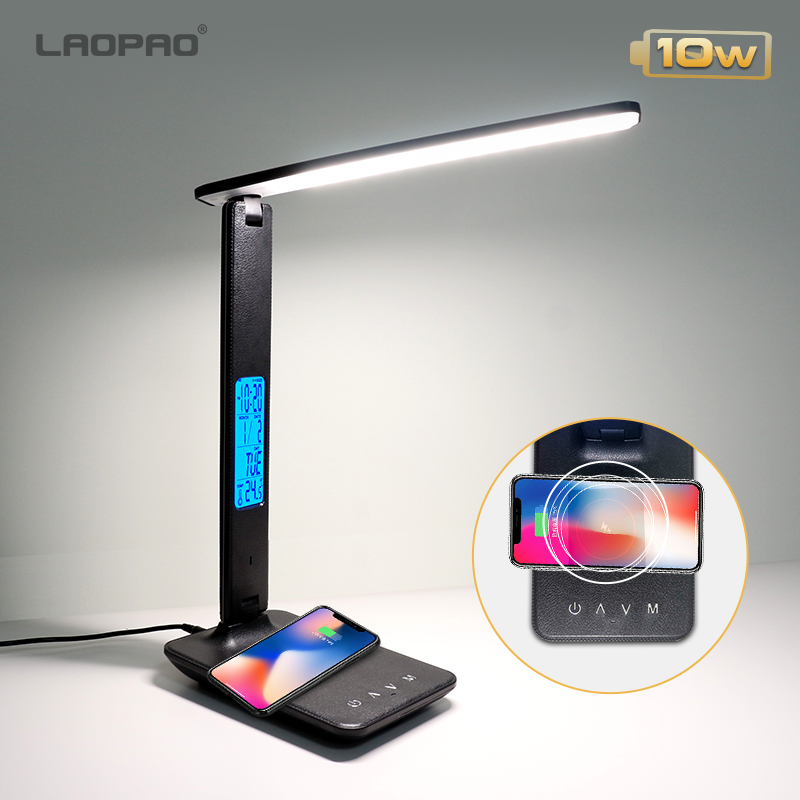 Desk-Lamp Alarm-Clock Eye-Protect-Reading-Light Temperature LAOPAO Wireless-Charging