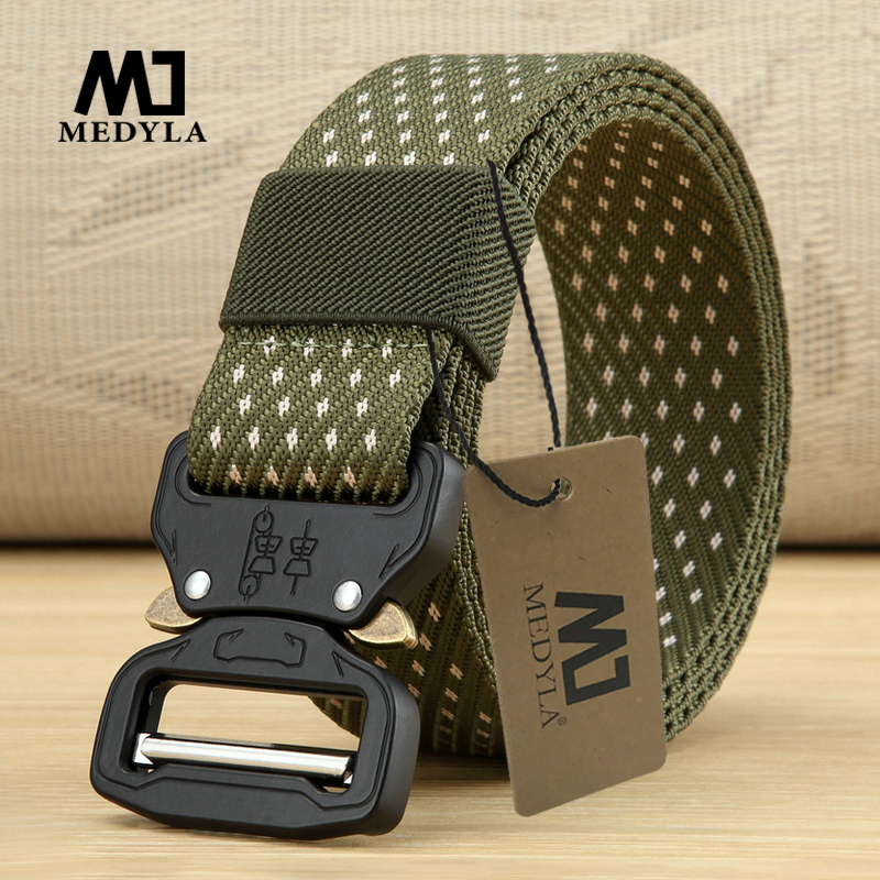 MEDYLA New Nylon Belt Men Army Tactical Belt Molle Military SWAT Combat Belts Knock Off Emergency Survival Waist Tactical Gear