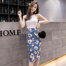 Flower Print Slit Design Skirt  Casual Mid-Calf Sexy Slim High Waist Women's Pencil Female Skirt mid calf flower print straight womens pants