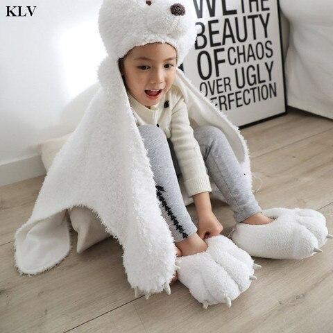 crianca crianca criancas inverno recheado fuzzy casa chinelos bonito dos desenhos animados urso polar pata