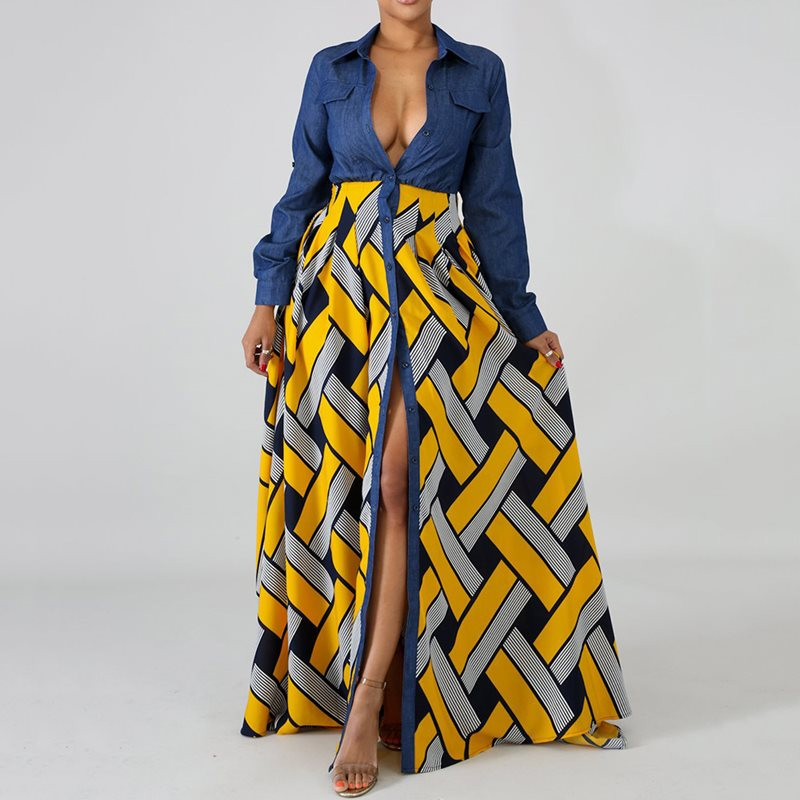 Plaid Shirt Maxi Dress Women Long Sleeve African Fashion Plus Size Long Dresses Casual Red Yellow Autumn 2019 High Waist Sexy in Dresses from Women 39 s Clothing