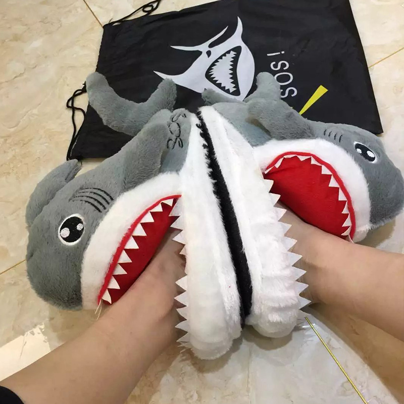 Funny Shoes Warm Slippers Shark Plush Girls Fashion Cartoon Women Ladies Lovely Indoor title=