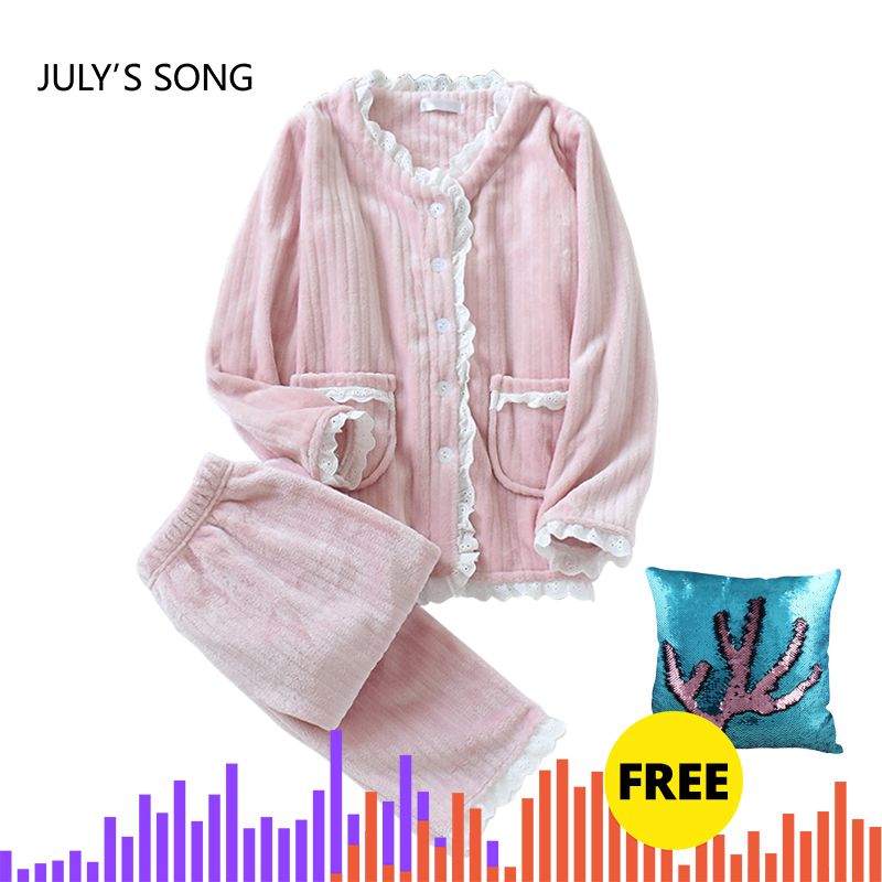 JULY'S SONG New Fashion Warm Flannel Pajamas Set Women Winter Autumn Pajama Sleepwear Lace Pink  Pajamas Thick Warm Sleepwear