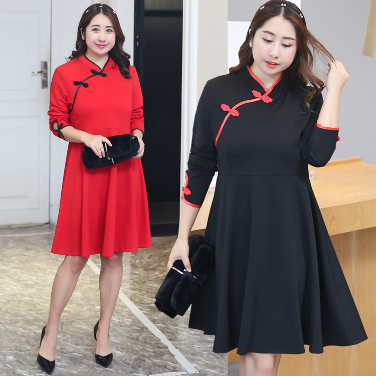 Xuan Chen 2019 Autumn Clothing New Style Large GIRL'S Plus-sized WOMEN'S Dress Slimming Improved Cheongsam Full Body Dress A019