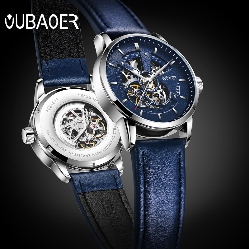 2020 Fashion Blue Leather Watch Men Mechanical Skeleton Watches Top Brand Luxury Skeleton Automatic Watch Relogio Masculino Box