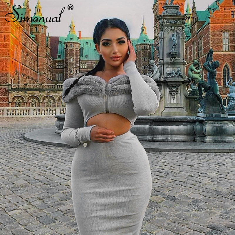 Simenual Fashion Hairy Patchwork Women 2 Piece Sets Ribbed Long Sleeve Off Shoulder Outfits Zip Crop Top And Skirt Matching Set