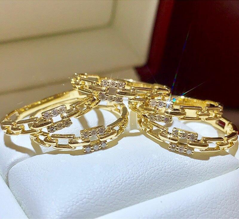18k or diamant bague de fiançailles et mariage naturel véritable diamant bague bijoux ont certificat 003 - 2